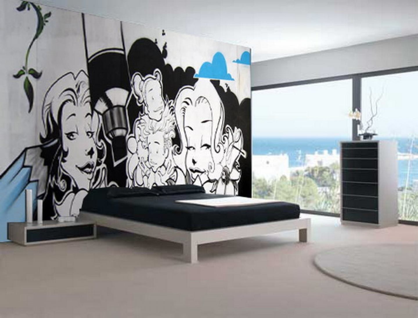 Graffiti-Mural-Teen-Bedroom-Interior-Design-Ideas-Graffiti-